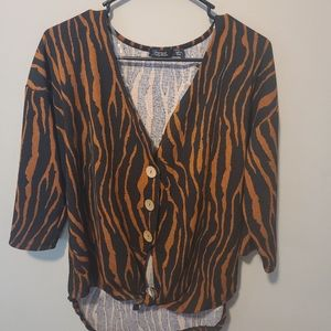 Cure button up tunic 3/4 sleeve shirt size L